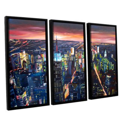 Brushstone New York City-The Empire State Buildingat Night 3-pc. Floater Framed Canvas Wall Art