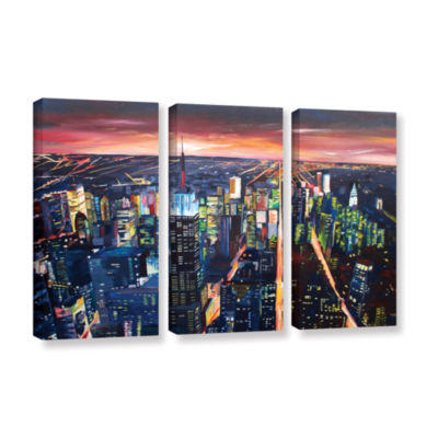 Brushstone New York City-The Empire State Buildingat Night 3-pc. Gallery Wrapped Canvas Wall Art