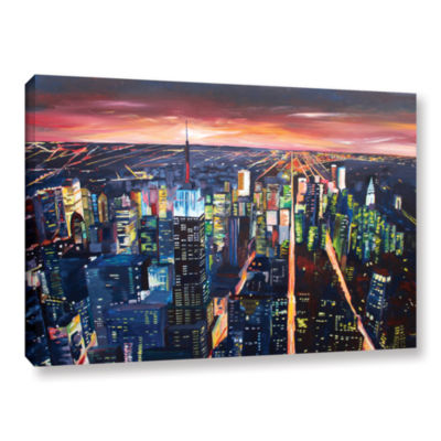 Brushstone New York City-The Empire State Buildingat Night Gallery Wrapped Canvas Wall Art
