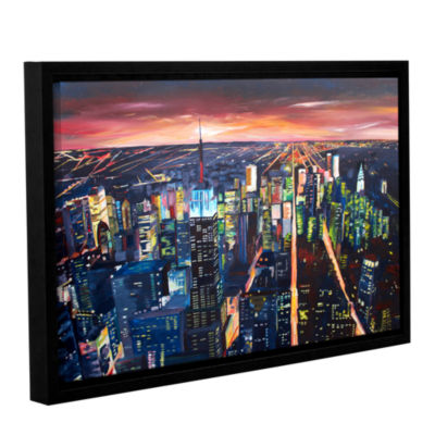 Brushstone New York City-The Empire State Buildingat Night Gallery Wrapped Floater-Framed Canvas Wall Art