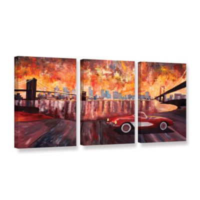 Brushstone New York City-Two Bridges with a Corvette 3-pc. Gallery Wrapped Canvas Wall Art