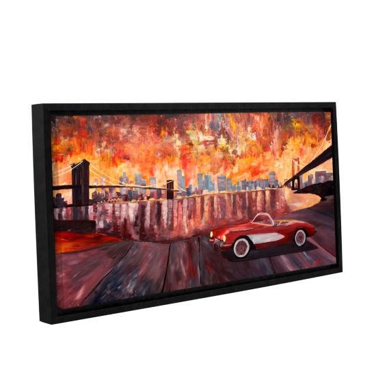Brushstone New York City-Two Bridges with a Corvette Gallery Wrapped Floater-Framed Canvas Wall Art