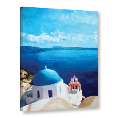 Brushstone Oia Santorini with Blue Sky Gallery Wrapped Canvas Wall Art