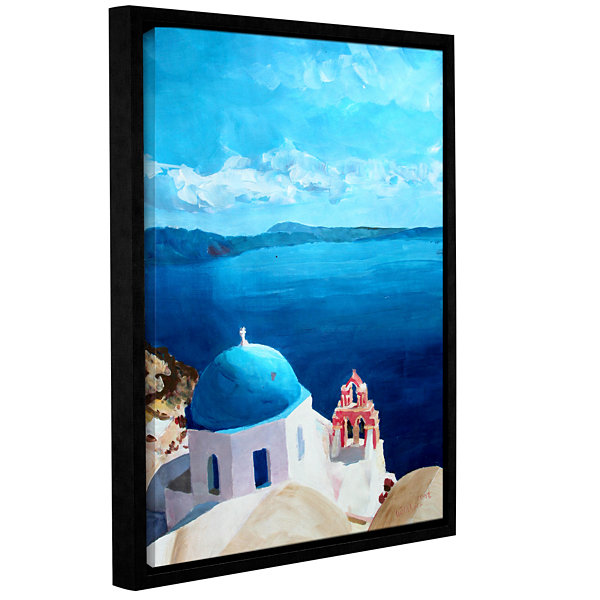 Brushstone Oia Santorini with Blue Sky Gallery Wrapped Floater-Framed Canvas Wall Art