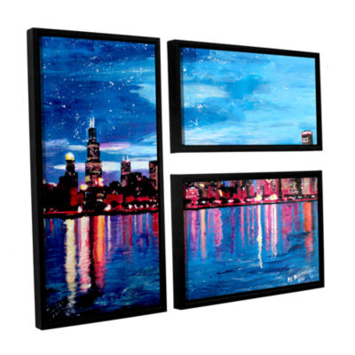 Brushstone Chicago Skyline at Dusk 3-pc. Flag Floater Framed Canvas Wall Art