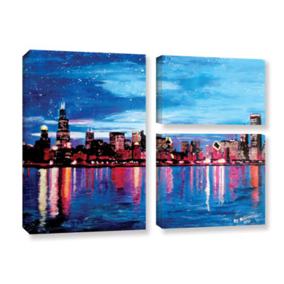 Brushstone Chicago Skyline at Dusk 3-pc. Flag Gallery Wrapped Canvas Wall Art