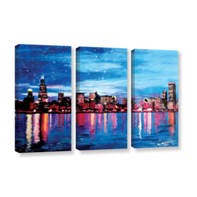 Brushstone Chicago Skyline at Dusk 3-pc. Gallery Wrapped Canvas Wall Art