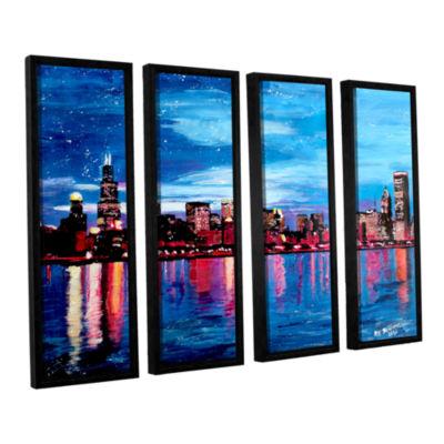 Brushstone Chicago Skyline at Dusk 4-pc. Floater Framed Canvas Wall Art