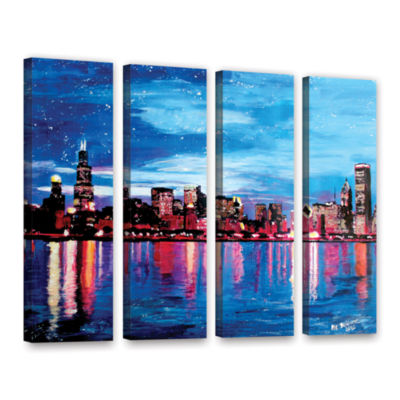 Brushstone Chicago Skyline at Dusk 4-pc. Gallery Wrapped Canvas Wall Art