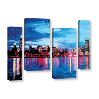Brushstone Chicago Skyline at Dusk 4-pc. Gallery Wrapped Staggered Canvas Wall Art