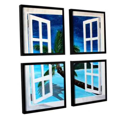 Brushstone Palm View Window 4-pc. Square Floater Framed Canvas