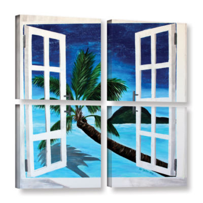 Brushstone Palm View Window 4-pc. Square Gallery Wrapped Canvas