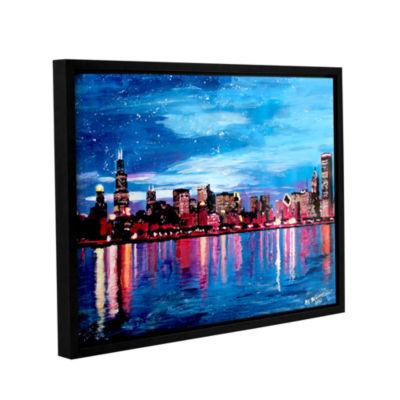 Brushstone Chicago Skyline at Dusk Gallery WrappedFloater-Framed Canvas Wall Art