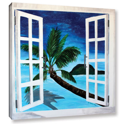Brushstone Palm View Window Gallery Wrapped CanvasWall Art