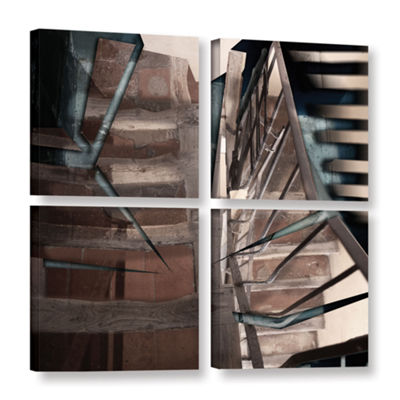 Brushstone Cracks In The Pavement 4-pc. Square Gallery Wrapped Canvas