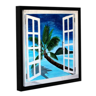 Brushstone Palm View Window Gallery Wrapped Floater-Framed Canvas Wall Art