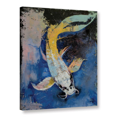 Brushstone Dragon Koi Gallery Wrapped Canvas WallArt