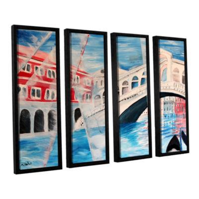 Brushstone Rialto Bridge 4-pc. Floater Framed Canvas Wall Art