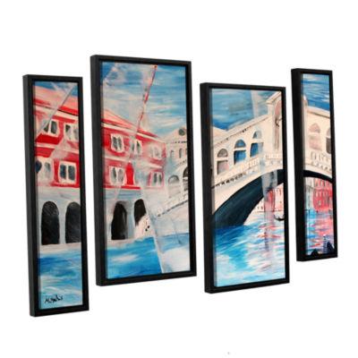 Brushstone Rialto Bridge 4-pc. Floater Framed Staggered Canvas Wall Art