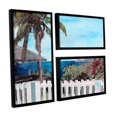 Brushstone English Harcour Antigua Ocean View 3-pc. Flag Floater Framed Canvas Wall Art