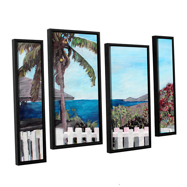 Brushstone English Harcour Antigua Ocean View 4-pc. Floater Framed Staggered Canvas Wall Art