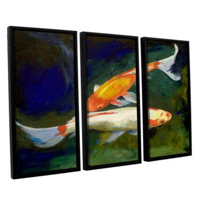 Brushstone Feng Shui Koi Fish 3-pc. Floater FramedCanvas Wall Art