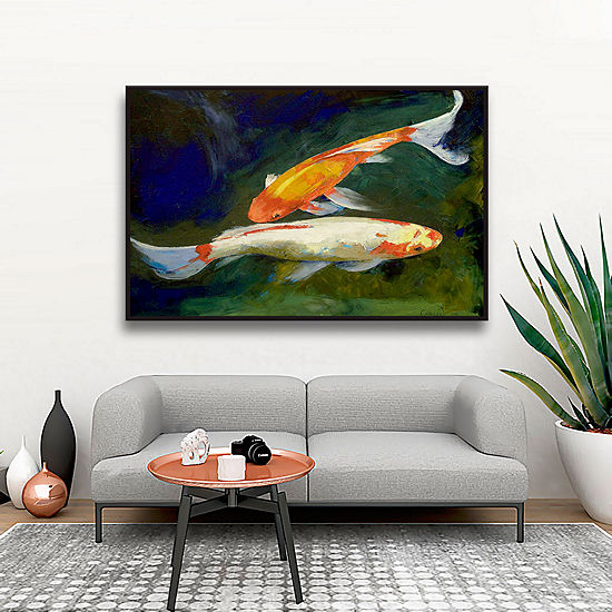 Brushstone Feng Shui Koi Fish Gallery Wrapped Floater-Framed Canvas Wall Art