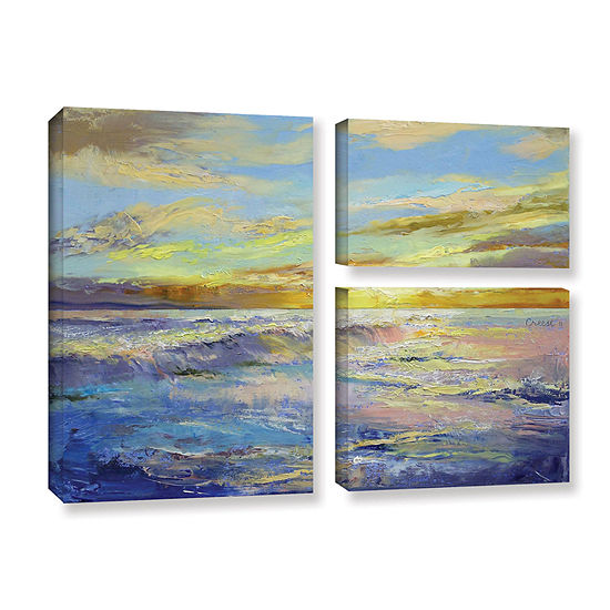 Brushstone Florida Sunrise 3 Pc Flag Gallery Wrapped Canvas Wall Art