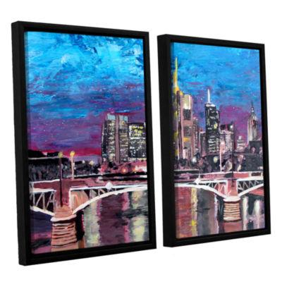 Brushstone Frankfurt Manhattan Skyline 2-pc. Floater Framed Canvas Wall Art