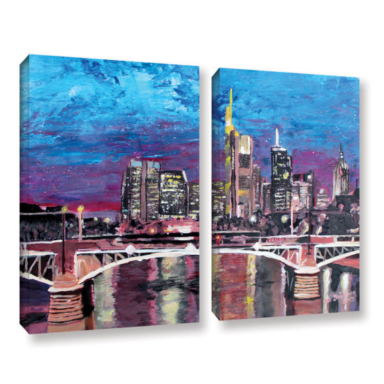 Brushstone Frankfurt Manhattan Skyline 2-pc. Gallery Wrapped Canvas Wall Art