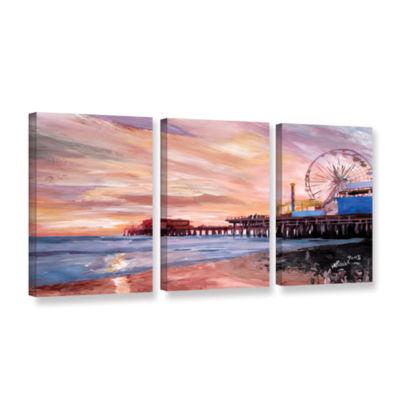 Brushstone Santa Monica Pier at Dusk 3-pc. GalleryWrapped Canvas Wall Art