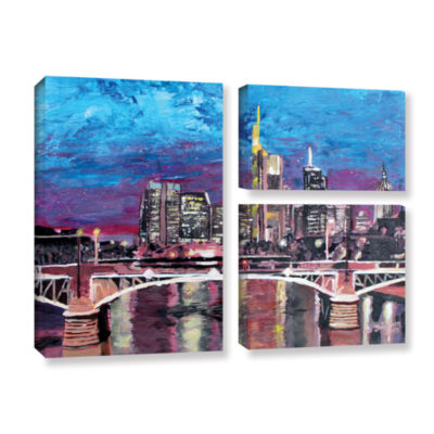 Brushstone Frankfurt Manhattan Skyline 3-pc. FlagGallery Wrapped Canvas Wall Art