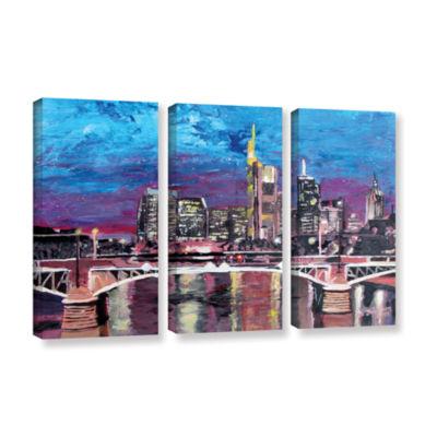 Brushstone Frankfurt Manhattan Skyline 3-pc. Gallery Wrapped Canvas Wall Art