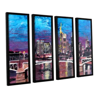 Brushstone Frankfurt Manhattan Skyline 4-pc. Floater Framed Canvas Wall Art