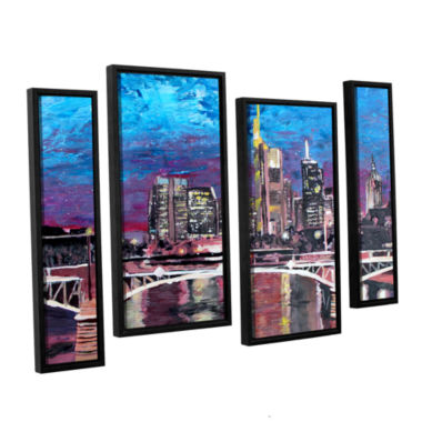 Brushstone Frankfurt Manhattan Skyline 4-pc. Floater Framed Staggered Canvas Wall Art