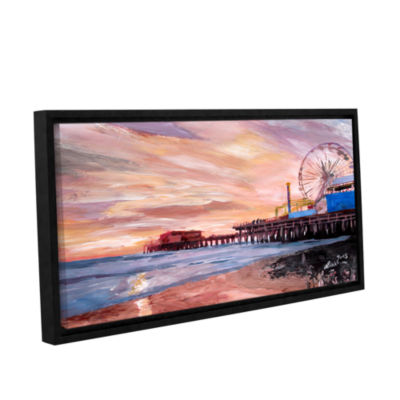 Brushstone Santa Monica Pier at Dusk Gallery Wrapped Floater-Framed Canvas Wall Art