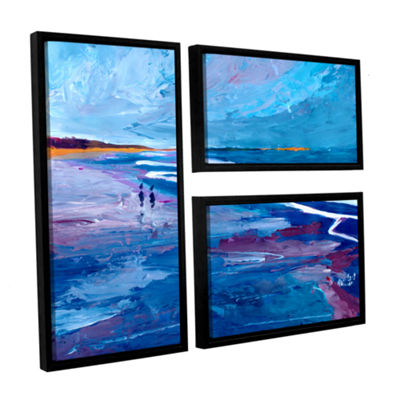 Brushstone Seascape Near Big Sur 3-pc. Flag Floater Framed Canvas Wall Art