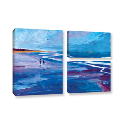 Brushstone Seascape Near Big Sur 3-pc. Flag Gallery Wrapped Canvas Wall Art