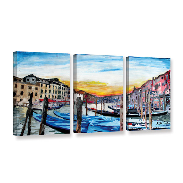 Brushstone Gondolas on anale Grande in Venice 3-pc. Gallery Wrapped Canvas Wall Art