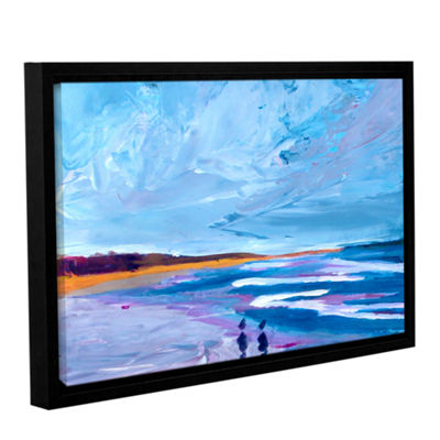 Brushstone Seascape Near Big Sur Gallery Wrapped Floater-Framed Canvas Wall Art