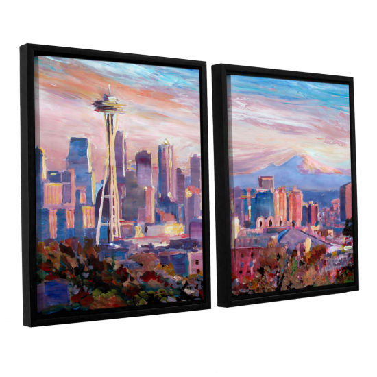 Brushstone Seattle Skyline with Space Needle 2-pc.Floater Framed Canvas Wall Art