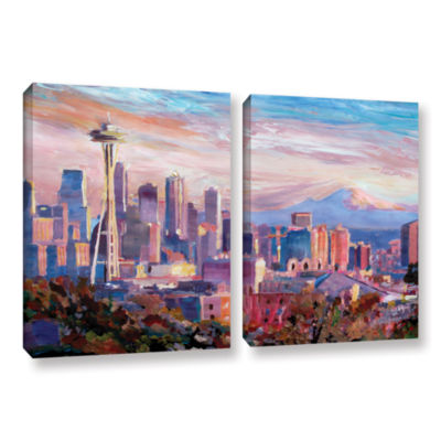 Brushstone Seattle Skyline with Space Needle 2-pc.Gallery Wrapped Canvas Wall Art