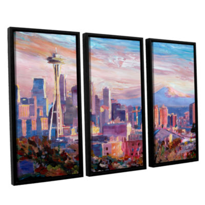 Brushstone Seattle Skyline with Space Needle 3-pc.Floater Framed Canvas Wall Art