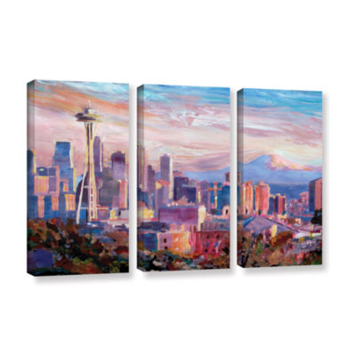 Brushstone Seattle Skyline with Space Needle 3-pc.Gallery Wrapped Canvas Wall Art