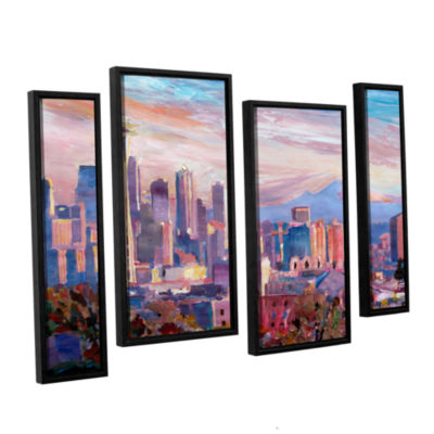 Brushstone Seattle Skyline with Space Needle 4-pc.Floater Framed Staggered Canvas Wall Art