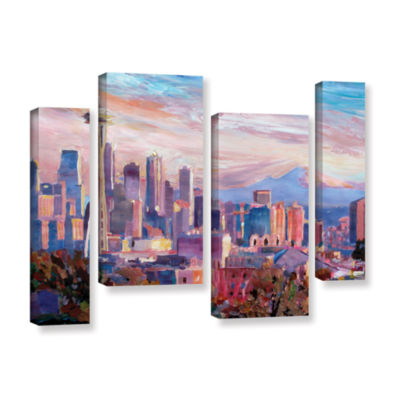 Brushstone Seattle Skyline with Space Needle 4-pc.Gallery Wrapped Staggered Canvas Wall Art