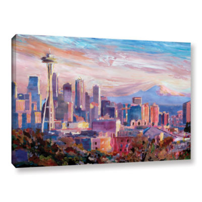 Brushstone Seattle Skyline with Space Needle Gallery Wrapped Canvas Wall Art