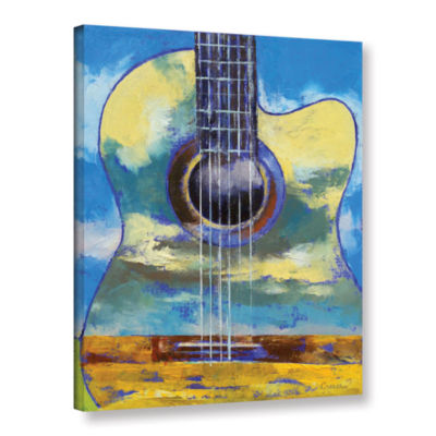 Brushstone Guitar and Clouds Gallery Wrapped Canvas Wall Art