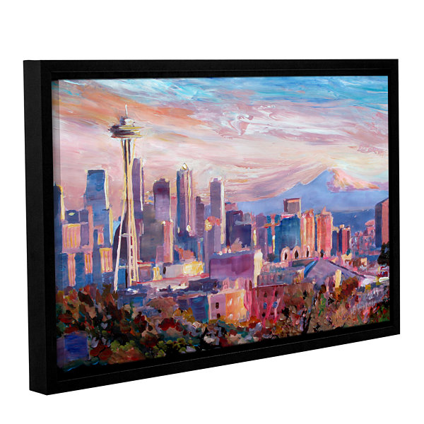 Brushstone Seattle Skyline with Space Needle Gallery Wrapped Floater-Framed Canvas Wall Art