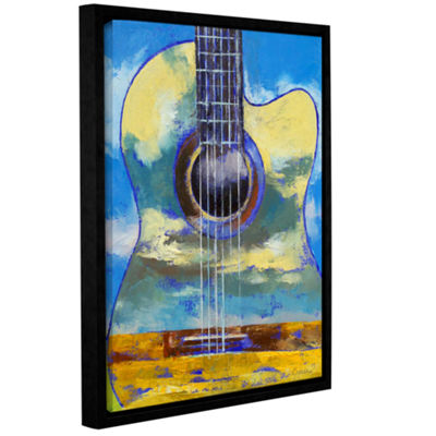 Brushstone Guitar and Clouds Gallery Wrapped Floater-Framed Canvas Wall Art